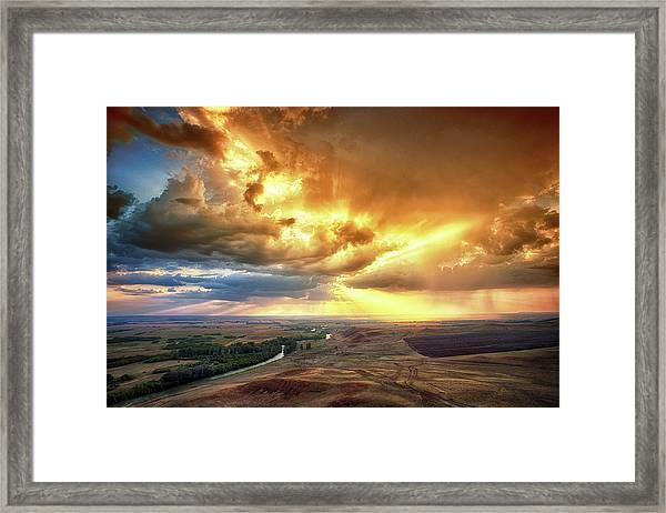 Rolling Rain Of Summer Sunset Framed Print