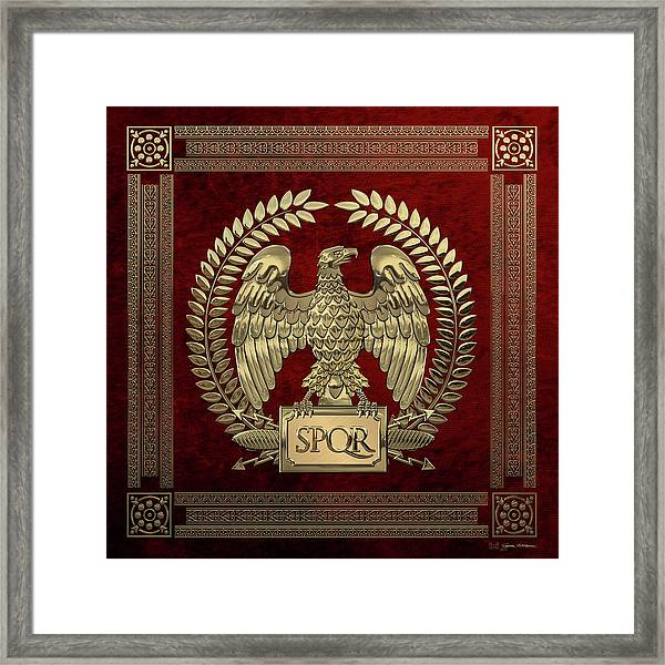 Roman Empire - Gold Imperial Eagle Over Red Velvet Framed Print