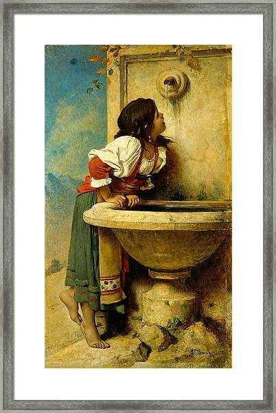 Framed Print featuring the painting Roman Girl At A Fountain by Leon Bonnat
