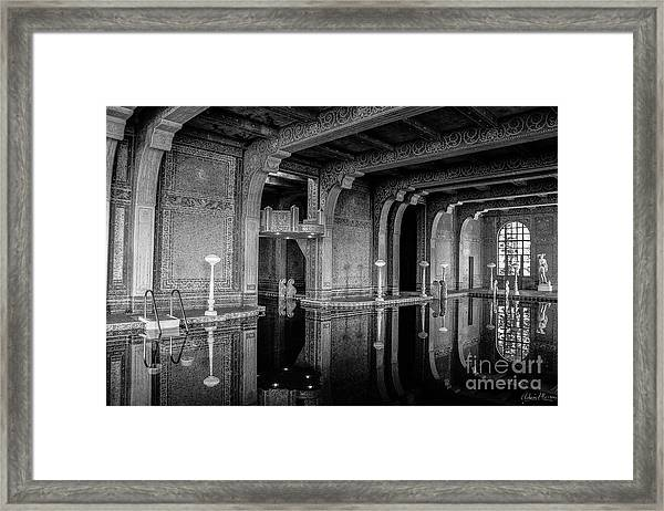 Roman Pool, Black And White Framed Print