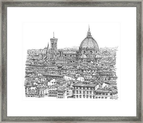 Romantic Florence Skyline In Ink Framed Print