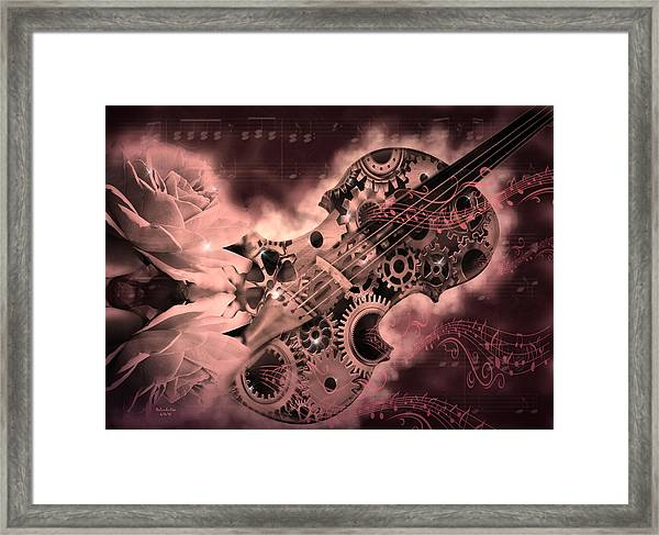 Romantic Stemapunk Violin Music Framed Print