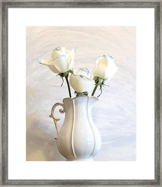 Romantic White Roses Framed Print by Marsha Heiken