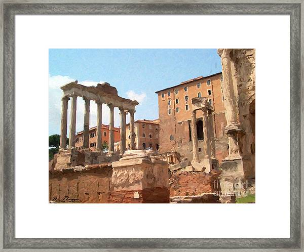 Framed Print featuring the mixed media Rome The Eternal City And Temples by Rosario Piazza