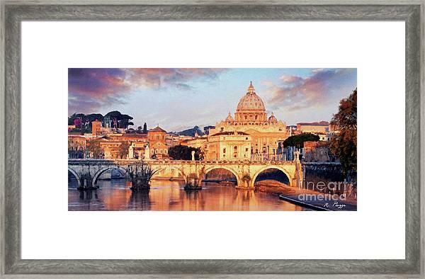Rome The Eternal City - Saint Peter From The Tiber Framed Print