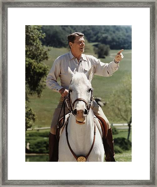 Ronald Reagan On Horseback  Framed Print