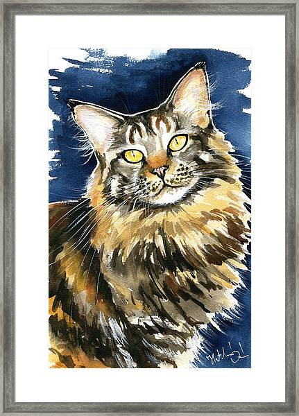 Ronja - Maine Coon Cat Painting Framed Print