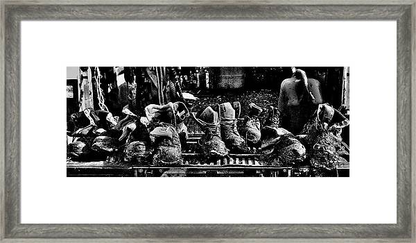 Roofers Tar Boots Take A Break Framed Print