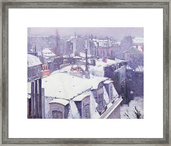 Roofs Under Snow Framed Print