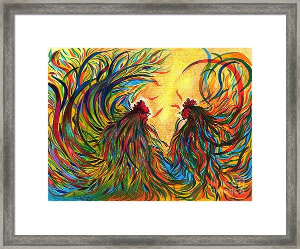 Roosters Frienship Framed Print