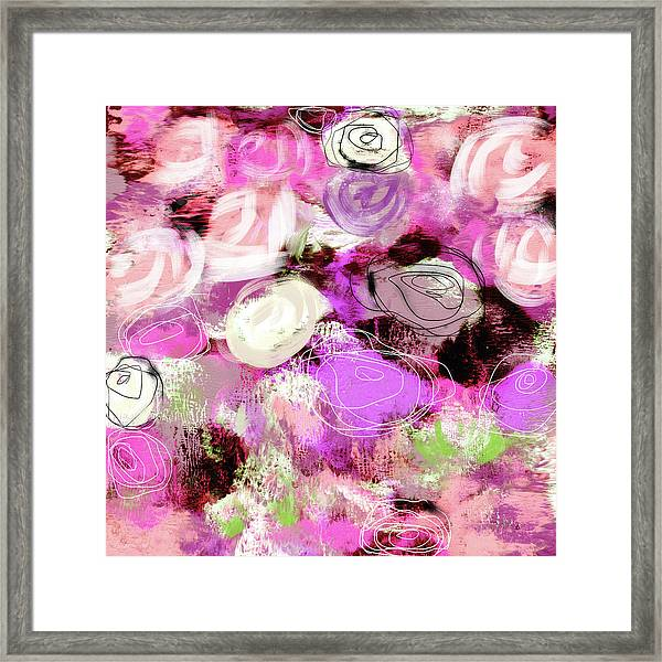 Rose Garden Promise- Art By Linda Woods Framed Print
