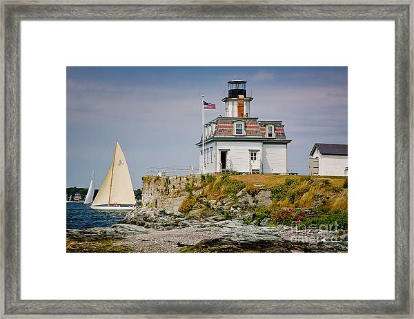 Framed Print featuring the photograph Rose Island Light by Susan Cole Kelly