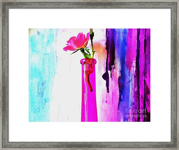 Rose On Abstract Framed Print by Marsha Heiken