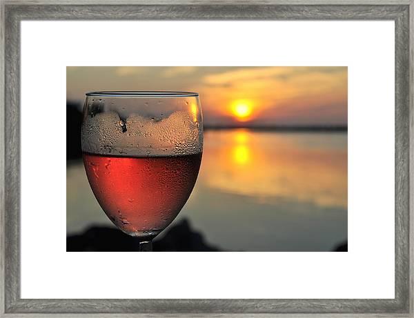 Rose Wine   Key Largo Sunset   Life Is Good Framed Print by Jonathan Galente