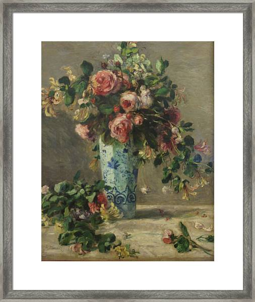 Roses And Jasmine In A Delft Vase Framed Print by Pierre Auguste Renoir