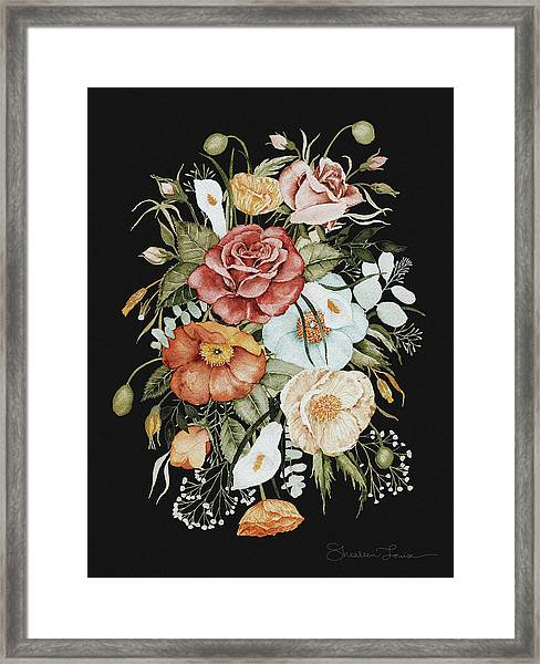 Roses And Poppies Bouquet Framed Print