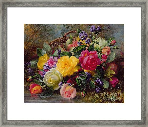 Roses By A Pond On A Grassy Bank  Framed Print