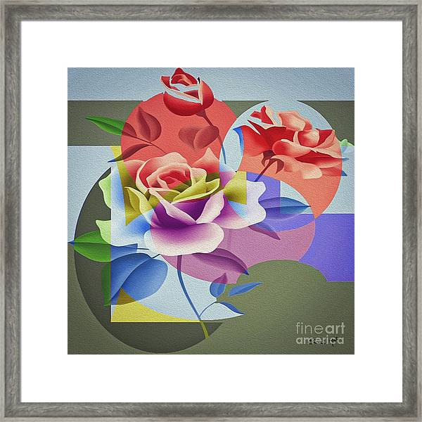 Framed Print featuring the digital art Roses For Her by Eleni Mac Synodinos