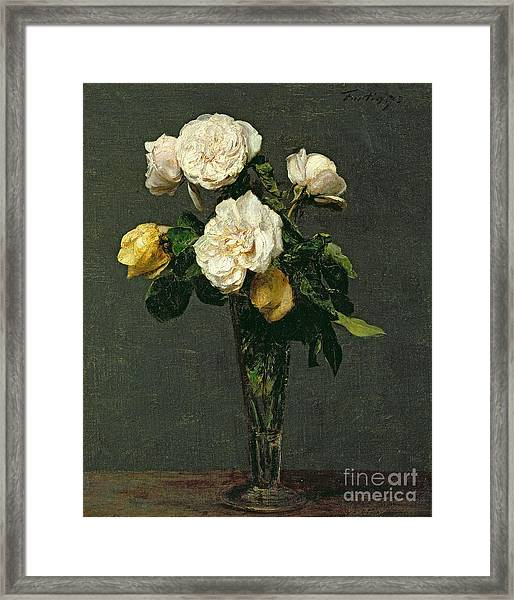 Roses In A Champagne Flute Framed Print