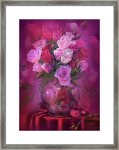 Roses In Rose Vase Framed Print