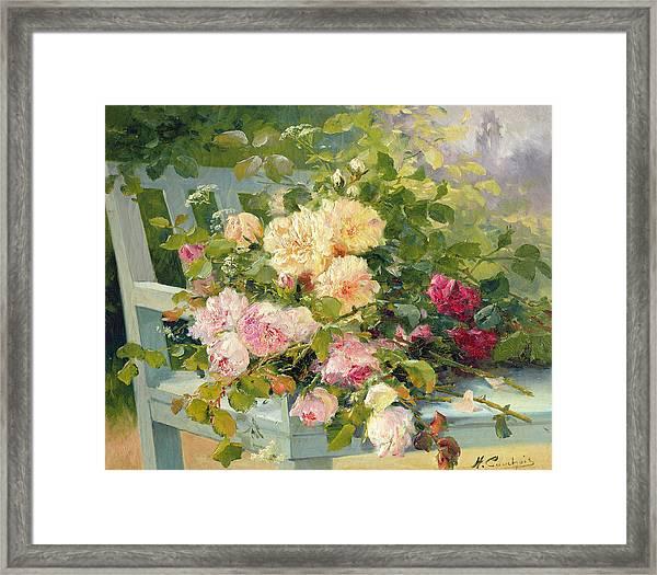 Roses On The Bench  Framed Print