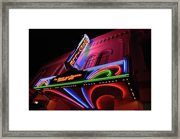 Roseville Theater Neon Sign Framed Print