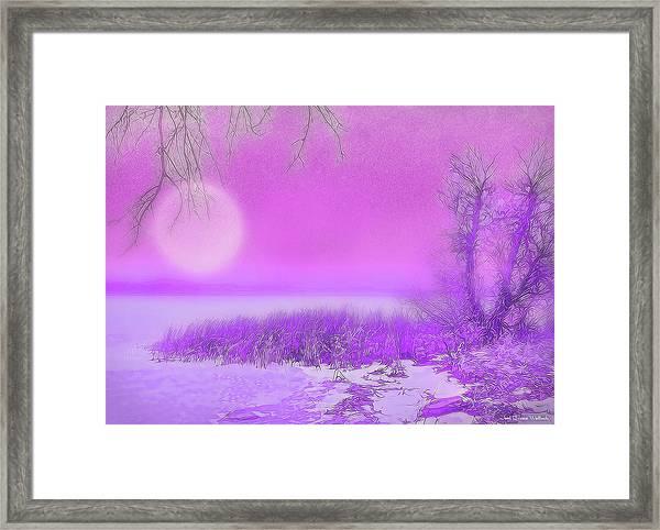 Rosy Hued Moonlit Lake - Boulder County Colorado Framed Print