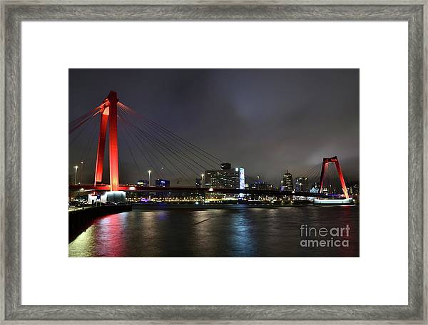 Rotterdam - Willemsbrug At Night Framed Print