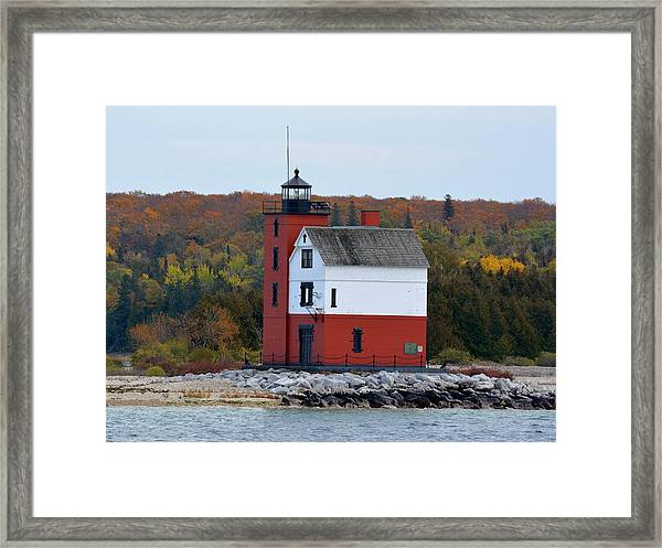 Round Island Lighthouse In October Framed Print