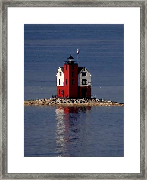Round Island Lighthouse In The Morning Framed Print