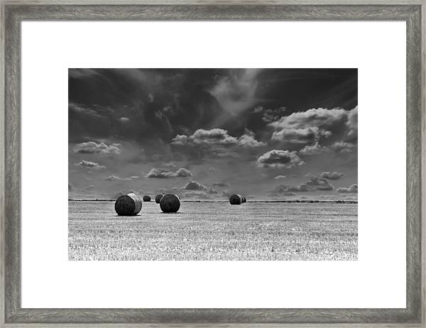 Round Straw Bales Landscape Framed Print