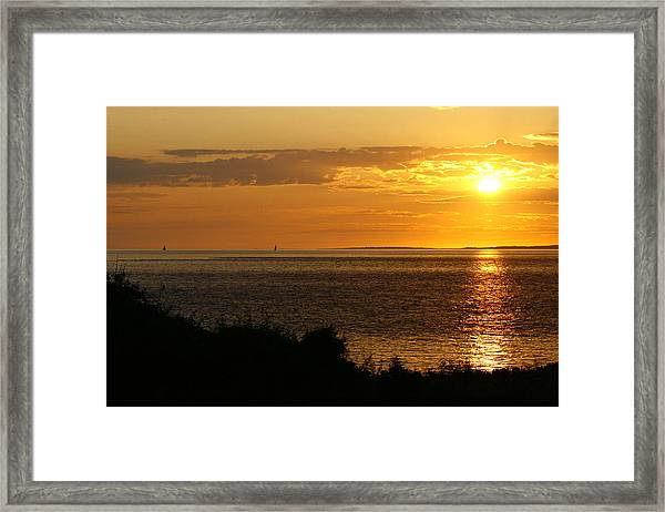 Rounding Block Island At Sunrise Framed Print