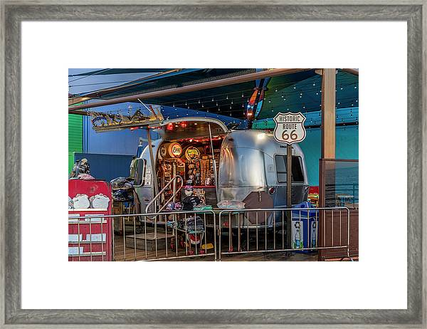 Route 66 And Airstream On Tha Pier Framed Print