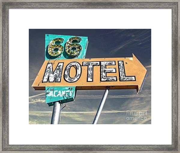 Route 66 Motel Sign Framed Print