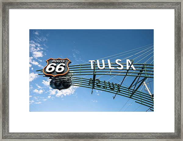 Route 66 Tulsa Vintage Street Art  Framed Print