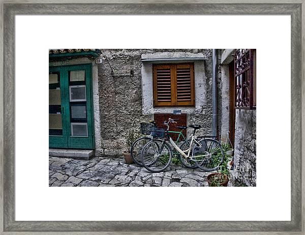 Rovinj Bicycles Framed Print