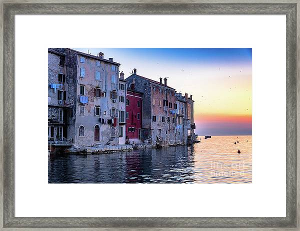 Rovinj Old Town On The Adriatic At Sunset Framed Print