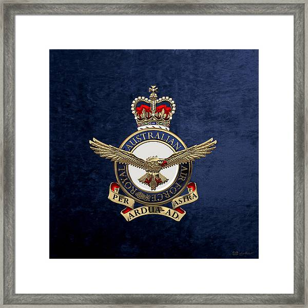 Royal Australian Air Force -  R A A F  Badge Over Blue Velvet Framed Print