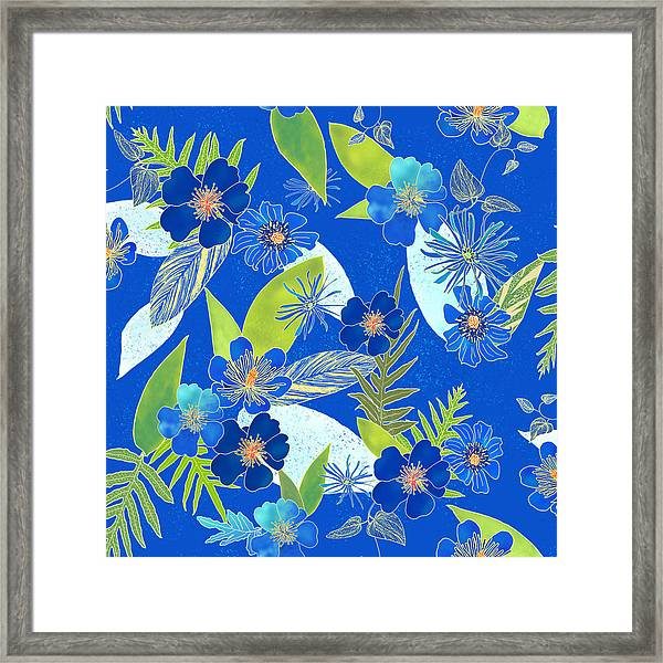 Royal Blue Aloha Tile 3 Framed Print