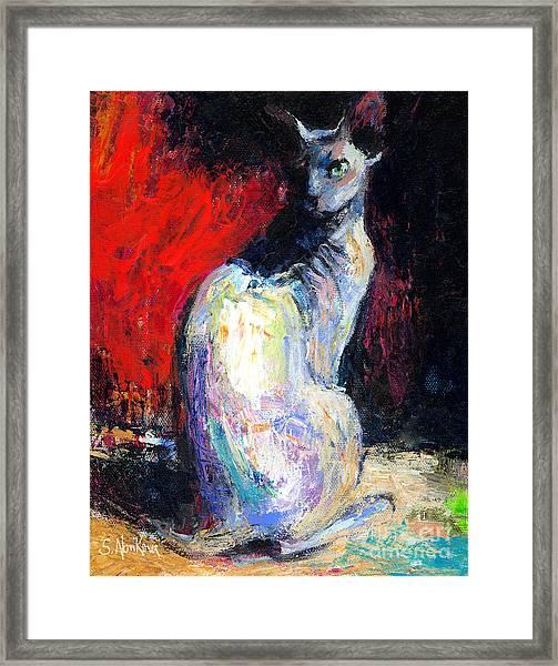 Royal Sphynx Cat Painting Framed Print
