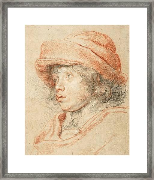 Rubens's Son Nicolaas Wearing A Red Felt Cap Framed Print