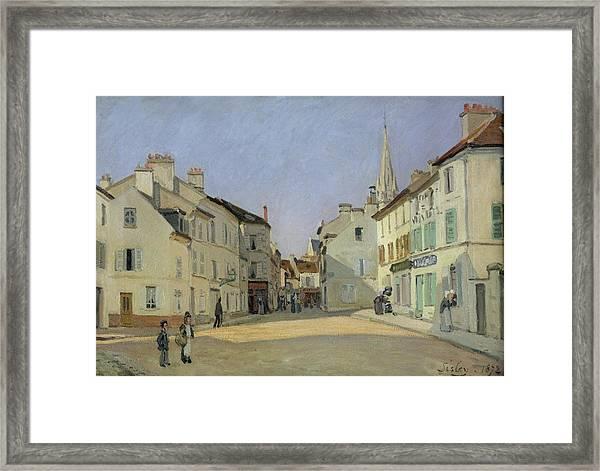 Rue De La Chaussee At Argenteuil Framed Print