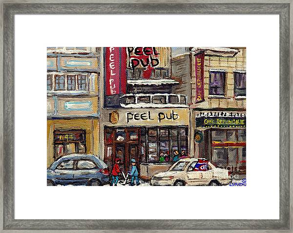 Rue Peel Montreal Winter Street Scene Paintings Peel Pub Cafe Republique Hockey Scenes Canadian Art Framed Print