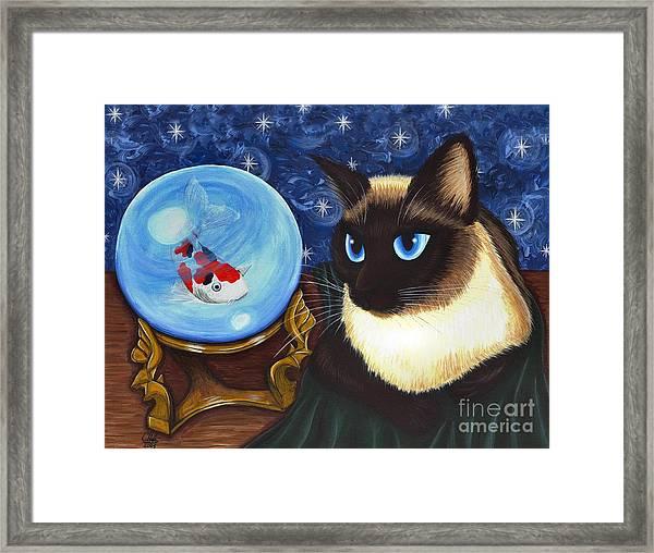 Rue Rue's Fortune - Siamese Cat Koi Framed Print