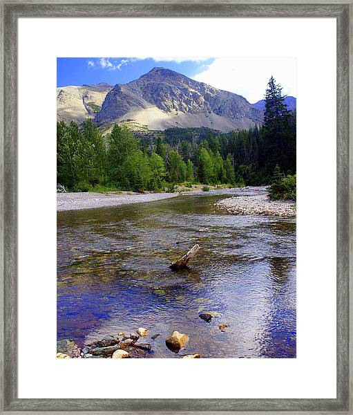 Running Eagle Creek Glacier National Park Framed Print