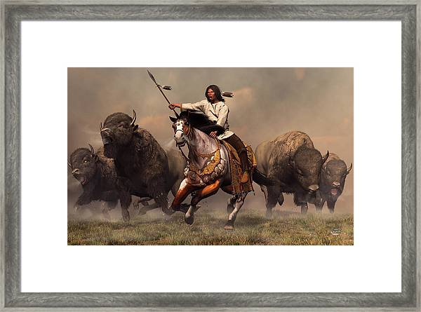 Running With Buffalo Framed Print