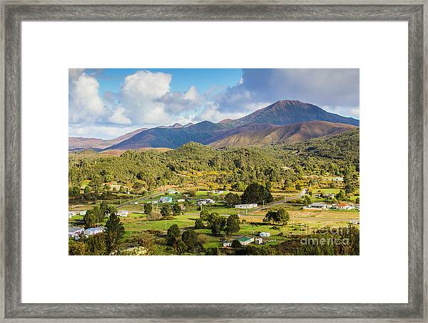 Rural Landscape With Mountains And Valley Village Framed Print