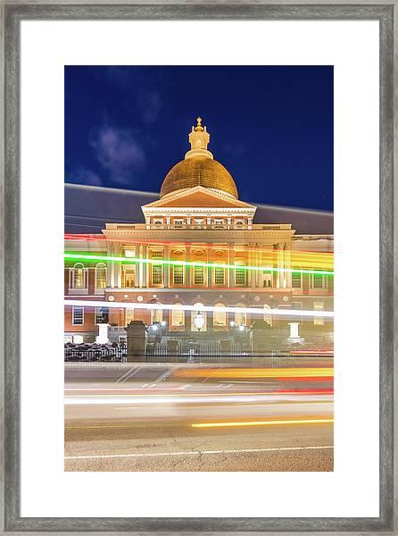 Rush Hour In Front Of The Massachusetts Statehouse Framed Print