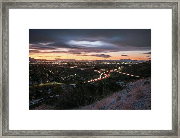 Rush Hour In Salt Lake City Framed Print