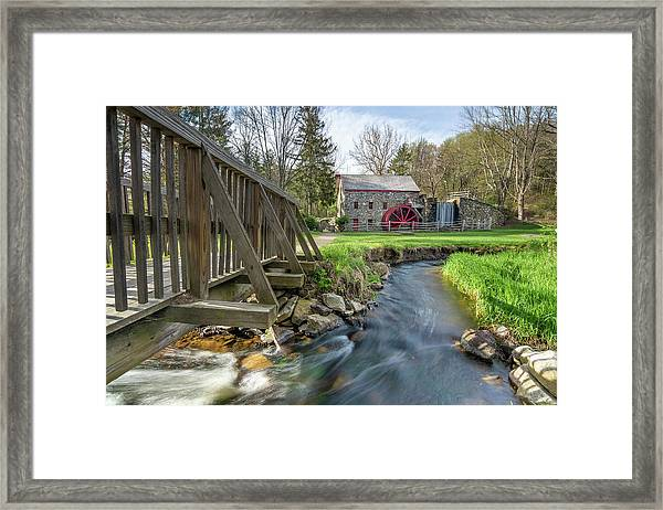 Rushing Water At The Grist Mill Framed Print